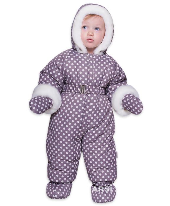 Комбинезон детский зимний АРСИ Горошек крем фото 1