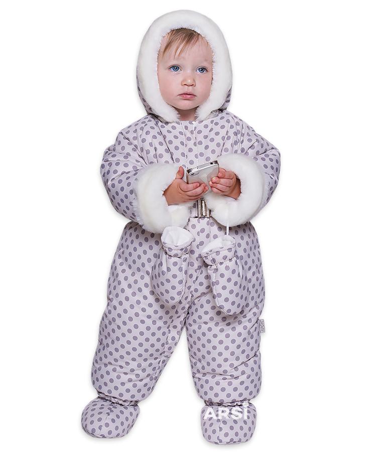 Купить детский зимний комбинезон АРСИ Горошек крем фото 1