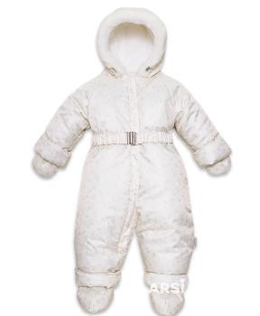 Зимний комбинезон для новорожденного Лама крем фото 2