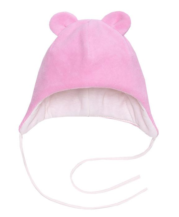 Шапочка велюровая с ушками MINNI by ARSI розовая (60гр)