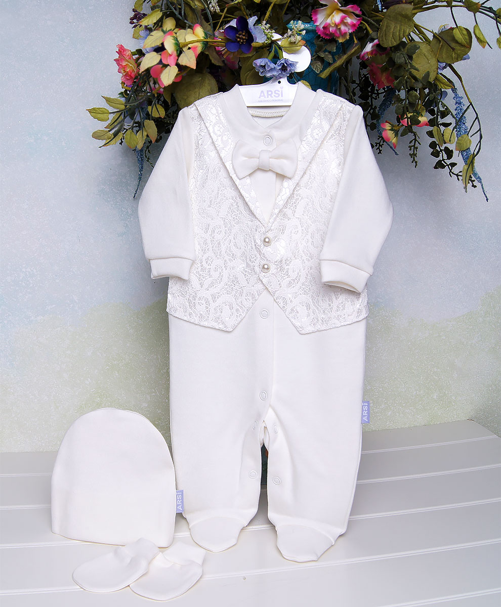 Комплект-на-выписку-Ажур-для-мальчика-молочный-фото-1
